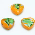 Glass beads, Glass, Orange , Green , Faceted heart shape, 16mm x 16mm x 6mm, 1 Bead