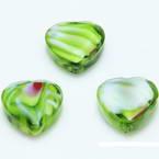 Glass beads, Glass, Light green , Faceted heart shape, 16mm x 16mm x 6mm, 1 Bead