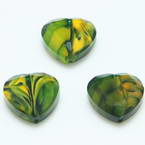 Glass beads, Glass, Green , Burnt orange , Faceted heart shape, 16mm x 16mm x 6mm, 1 Bead