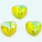 Glass beads, Glass, Yellow , Faceted heart shape, 16mm x 16mm x 6mm, 1 Bead