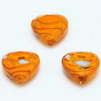 Glass beads, Glass, Orange , Faceted heart shape, 16mm x 16mm x 6mm, 1 Bead