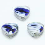 Glass beads, Glass, Blue , White , Faceted heart shape, 16mm x 16mm x 6mm, 1 Bead