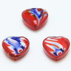 Glass beads, Glass, Red , Blue , Faceted heart shape, 16mm x 16mm x 6mm, 1 Bead