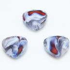 Glass beads, Glass, Grey , White , Faceted heart shape, 16mm x 16mm x 6mm, 1 Bead