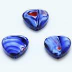Glass beads, Glass, Dark blue , Faceted heart shape, 16mm x 16mm x 6mm, 1 Bead