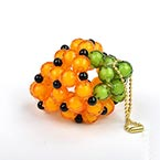 Bead keyring kits, orange, strawberry, Size of item when completed (approximately) 3.8cm x 4.8cm