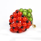 Bead keyring kits, Pinkish red, strawberry, Size of item when completed (approximately) 3.8cm x 4.8cm