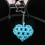 Bead keyring kits, blue, Heart shape, Size of item when completed (approximately) 5cm x 5cm
