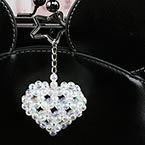 Bead keyring kits, white, Heart shape, Size of item when completed (approximately) 5cm x 5cm