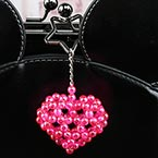 Bead keyring kits, Magenta, Heart shape, Size of item when completed (approximately) 5cm x 5cm