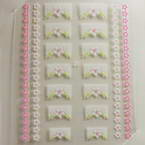 3D nail stickers, white, pink, 5cm x 6cm, 1  piece