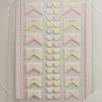 3D nail stickers, white, Yellow, 5cm x 6cm, 1  piece