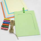 Picture frames Set of materials, Paper, green, Yellow, 15.5cm x 11.5cm, 7 sheets