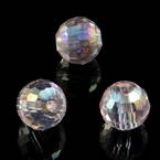 Beads, Auralescent Crystal, Crystal, Light pink AB, Faceted spherical, Diameter 8mm, 2 Beads