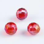 Beads, Auralescent Crystal, Crystal, Burgandy AB, Faceted spherical, Diameter 8mm, 2 Beads