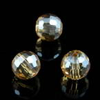 Beads, Auralescent Crystal, Crystal, Light brown AB, Faceted spherical, Diameter 8mm, 2 Beads