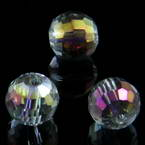 Beads, Auralescent Crystal, Crystal, Multi colour AB, Faceted spherical, Diameter 10mm, 2 Beads