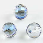 Beads, Auralescent Crystal, Crystal, Clear colour AB, Indigo AB, Faceted spherical, Diameter 10mm, 2 Beads