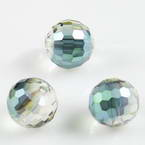 Beads, Auralescent Crystal, Crystal, Clear colour AB, Dark green AB, Faceted spherical, Diameter 10mm, 2 Beads
