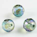 Beads, Auralescent Crystal, Crystal, Dark teal AB, Faceted spherical, Diameter 10mm, 2 Beads