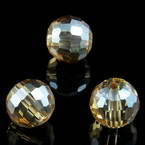 Beads, Auralescent Crystal, Crystal, Light brown AB, Faceted spherical, Diameter 10mm, 2 Beads