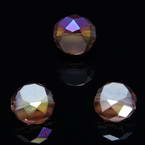 Beads, Auralescent Crystal, Crystal, Purple AB, Faceted Discs, 8mm x 8mm x 5mm, 8 Beads