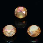 Beads, Auralescent Crystal, Crystal, Orange AB, Faceted Discs, 8mm x 8mm x 5mm, 8 Beads