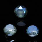 Beads, Auralescent Crystal, Crystal, Blue AB, Faceted Discs, 8mm x 8mm x 5mm, 8 Beads