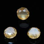 Beads, Auralescent Crystal, Crystal, Light brown AB, Faceted Discs, 8mm x 8mm x 5mm, 8 Beads