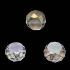 Beads, Auralescent Crystal, Crystal, Light pink AB, Faceted Discs, 8mm x 8mm x 5mm, 8 Beads