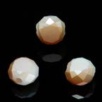 Beads, Auralescent Crystal, Crystal, Orange AB, White , Faceted Discs, 8mm x 8mm x 5mm, 8 Beads