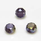 Beads, Auralescent Crystal, Crystal, Dark purple AB, Faceted Discs, 6mm x 6mm x 3mm, 10 Beads
