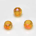 Beads, Auralescent Crystal, Crystal, Orange AB, Faceted Discs, 6mm x 6mm x 3mm, 10 Beads