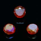 Beads, Auralescent Crystal, Crystal, Pinkish red AB, Faceted Discs, 8mm x 8mm x 5mm, 8 Beads