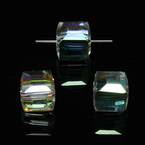 Beads, Auralescent Crystal, Crystal, Multi colour AB, Faceted square shape, 8mm x 8mm x 8mm, 1 Bead