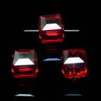 Beads, Auralescent Crystal, Crystal, Burgandy AB, Faceted square shape, 8mm x 8mm x 8mm, 1 Bead