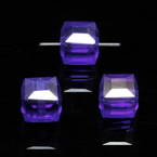 Beads, Auralescent Crystal, Crystal, Dark blue AB, Faceted square shape, 8mm x 8mm x 8mm, 1 Bead