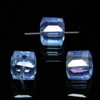 Beads, Auralescent Crystal, Crystal, Light blue AB, Faceted square shape, 8mm x 8mm x 8mm, 1 Bead