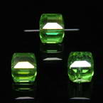 Beads, Auralescent Crystal, Crystal, Green AB, Faceted square shape, 8mm x 8mm x 8mm, 1 Bead
