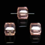 Beads, Auralescent Crystal, Crystal, Pink AB, Faceted square shape, 8mm x 8mm x 8mm, 1 Bead